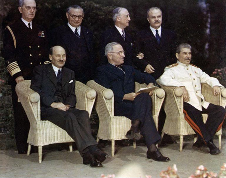 Clement Attlee, Harry Truman, and Joseph Stalin at the Potsdam Conference