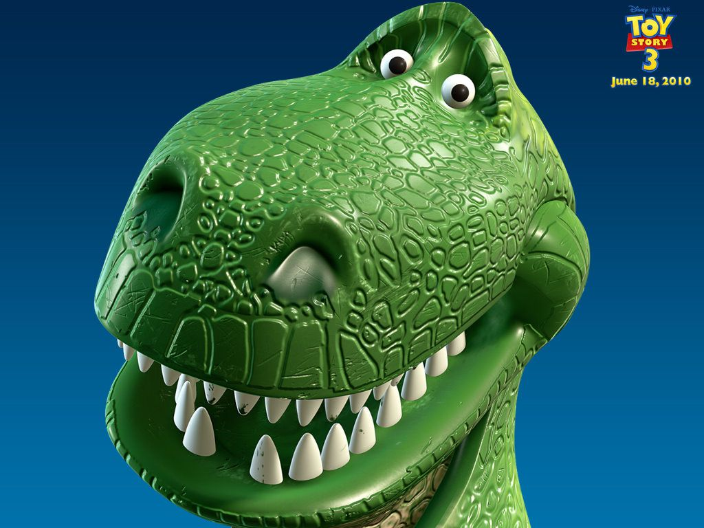 Close up of Rex from Toy Story.