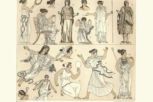 engraving of ancient dresses for women