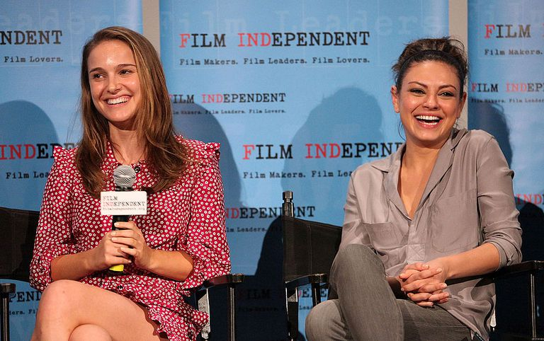 Actresses Natalie Portman and Mila Kunis at a promotional event.