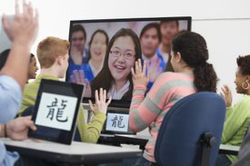 Students Using Video Conference in Class