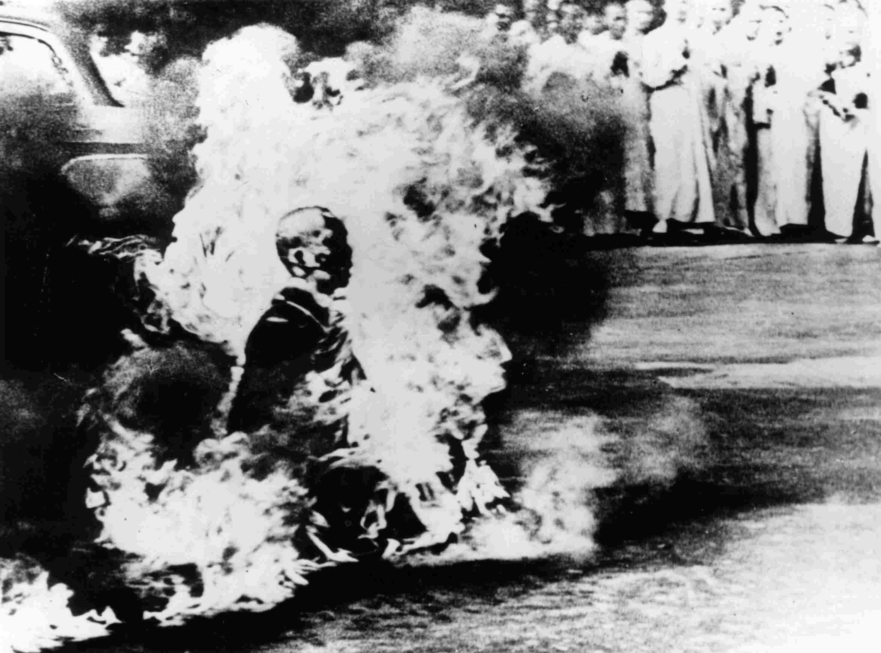 A Buddhist monk makes the ultimate protest in Saigon by setting himself alight on June 11, 1963.