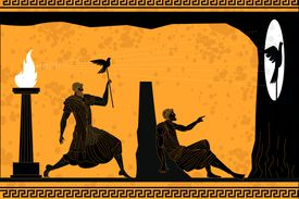 In Greek pottery style, the Allegory of the Cave features the shadow of a bird cast on a cave wall while a man watches