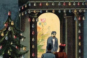 Illustration of 19th century electric Christmas lights