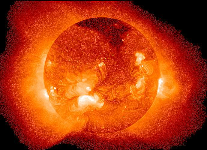 This is a view of the sun from the Soft X-Ray Telescope (SXT) on the Yohkoh satellite.