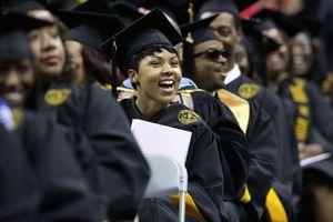 Woman smiling during graduating