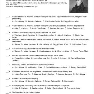Andrew Jackson Challenge Worksheet
