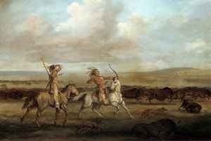 Painting by George Catlin of a buffalo hunt