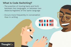 A man and a woman are in conversation. The man has a speech bubble which contains 3 U.S. flags and 3 French flags. The definition of code-switching is superimposed above the people: