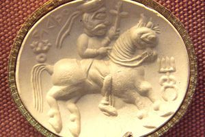This is the first known piece of art showing a saddle with stirrups, c. 100 CE.
