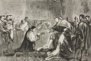 Bishop Hugh Latimer (circa 1487-1555) presenting copy of New Testament to Henry VIII as New Years gift, drawing by John Gilbert, illustration from magazine Illustrated London News, volume XXXIV, January 1, 1859
