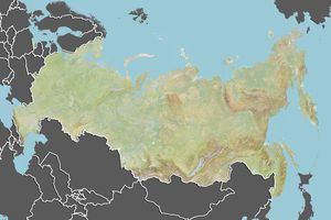 Russia, Relief Map With Border and Mask