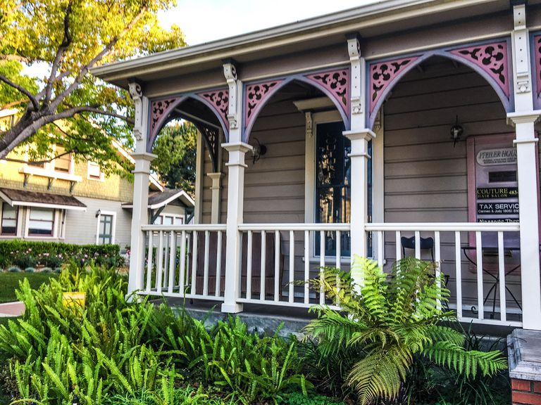 Filigreed Porch of Victorian Home in Oxnard, California