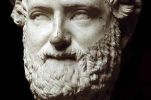 Close up of Roman marble bust of Aristophanes.