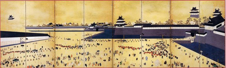 Daimyo arrive at Edo Castle
