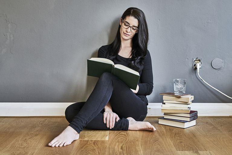 Smart woman studying