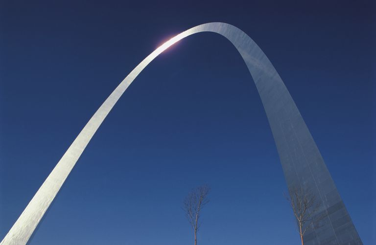 Closeup of modern metal arch, the Gateway Arch in St. Louis
