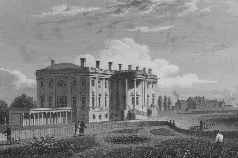 Engraving of the south portico and west colonnade of the White House, with a view of the adjacent gardens, Washington D C