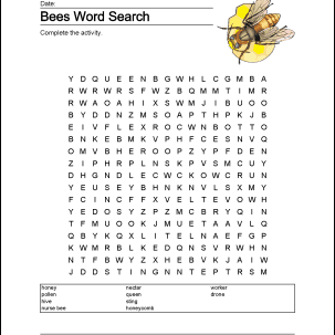 Bees Wordsearch, Vocabulary, Crossword, and More