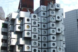 Cell-like capsule pods are individual living units in the Nakagin Capsule Tower Apartments