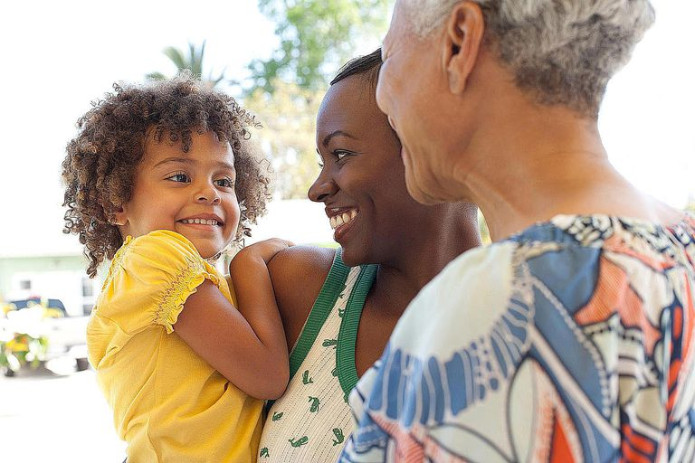 Three generations of women bonding outdoors