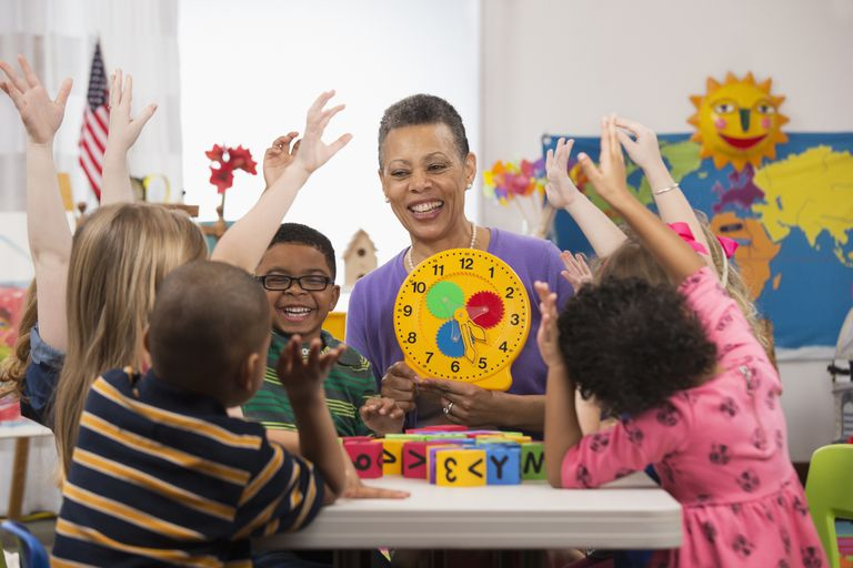 Kindergarten teacher with a play clock and a group of students raising their hands
