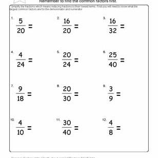 worksheets on simplifying fractions for th graders reduce the fractions worksheet