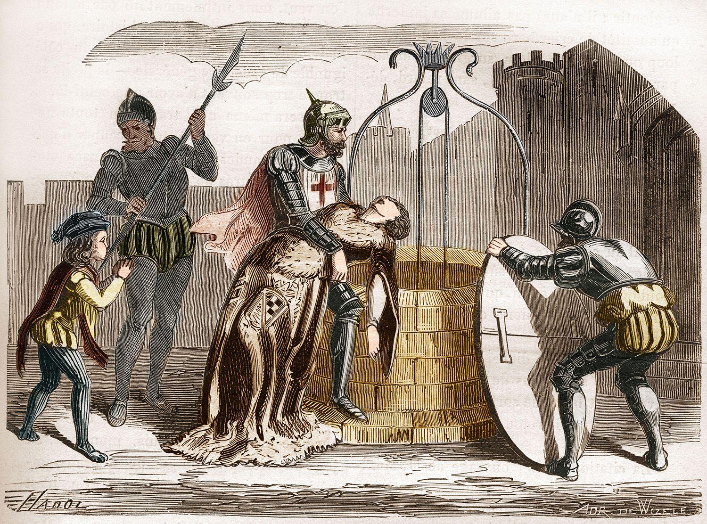 Illustration of Gilles De Rais Disposing of the Corpse of a Woman