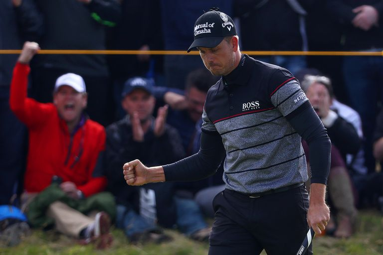 Henrik Stenson celebrates en route to setting multiple British Open scoring records at Royal Troon in 2016