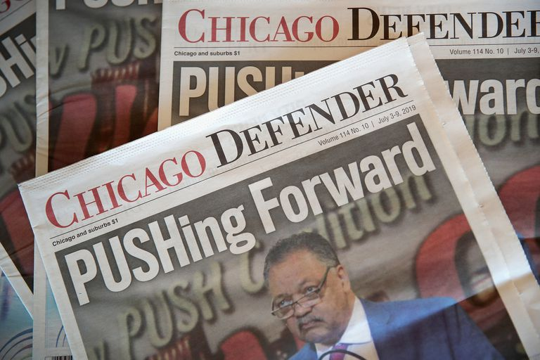 """The Chicago Defender newspaper with headline """"PUSHing Forward"""""""