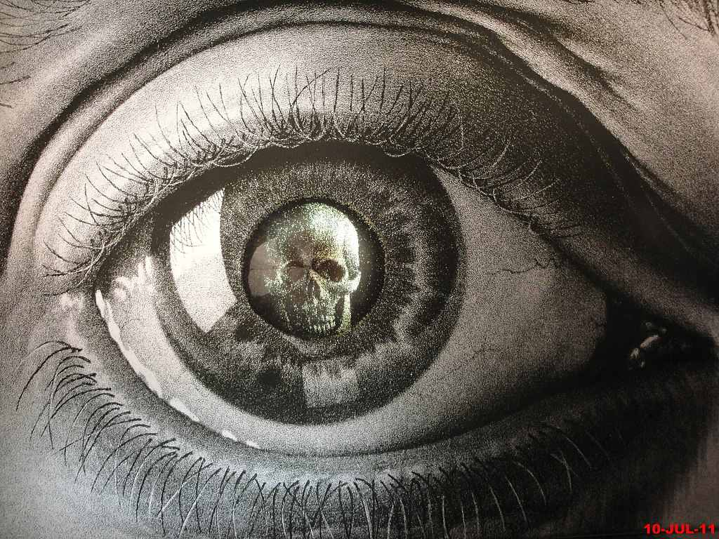 Drawing by M.C. Escher of a skull within an eye