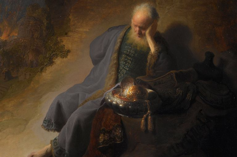 Painting of Jeremiah sitting with armor at his side