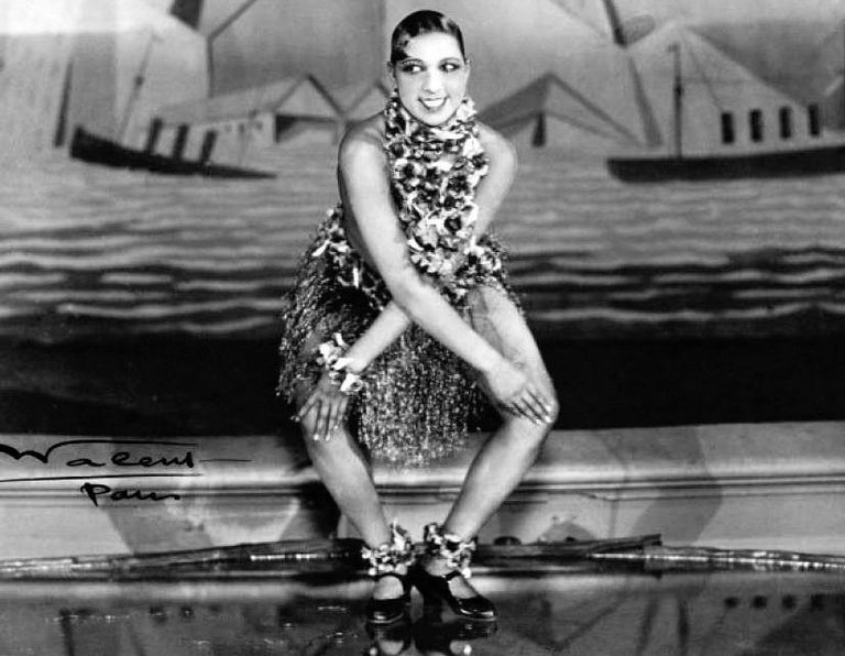 Black and white photo of Josephine Baker dancing the Charleston.
