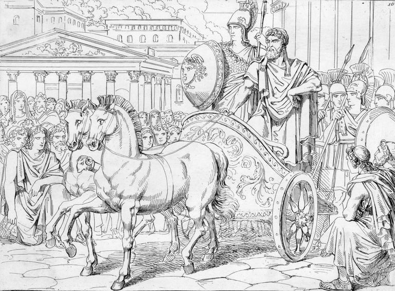 Illustration of Peisistratus Riding with Athena