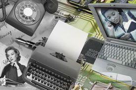 collage of phone, typewriter, laptop