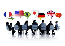 Group Of Business People Having A Conference About International Relation