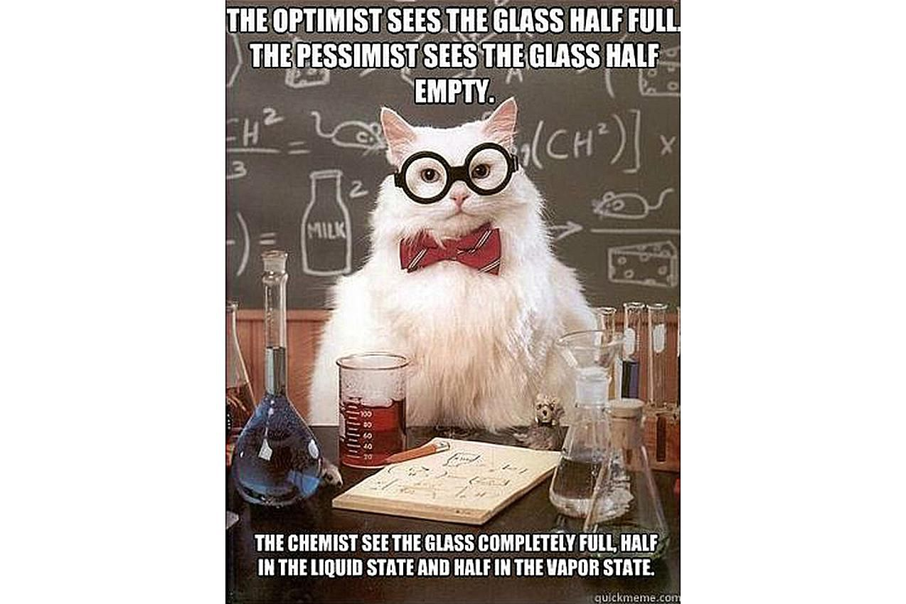 Chemistry Cat has his glass full.