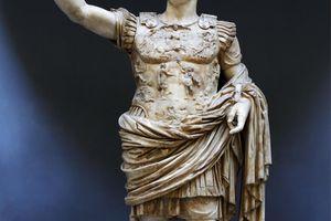 The Prima Porta Augustus displayed in the Braccio Nuovo (New Wing) of Museo Chiaramonti, Vatican Museums, Rome, Italy