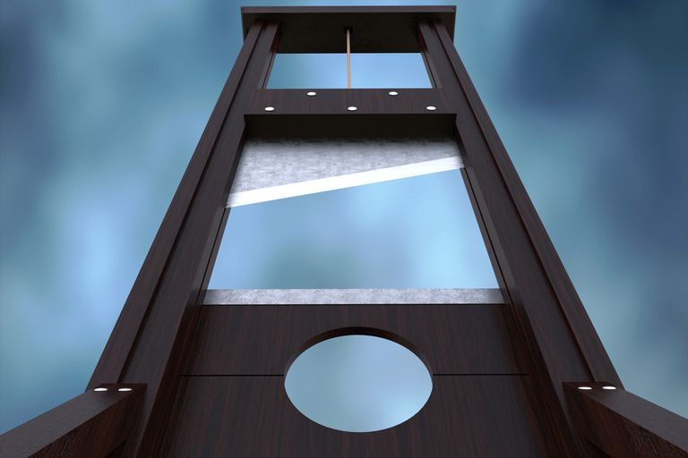 Guillotine instrument for inflicting capital punishment by decapitation