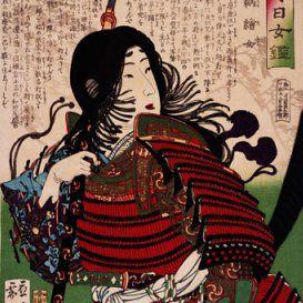 Print by Tsukioka Yoshitoshi, c. 1880 of Tomoe Gozen