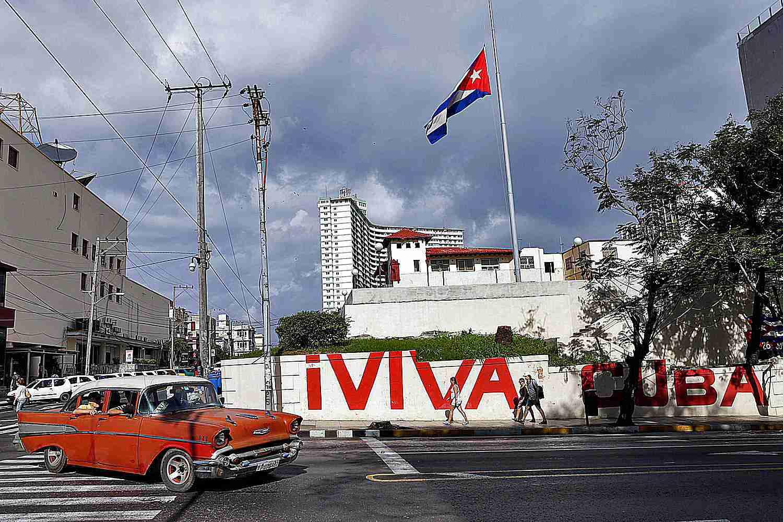 Cuban flag flying over Havana