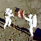 Armstrong & Aldrin With Flag on Moon - Space Firsts - Space Basics - Firsts In Space exploration