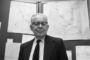 Seismologist Charles Richter in his lab