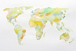 Watercolour world map in soft colours