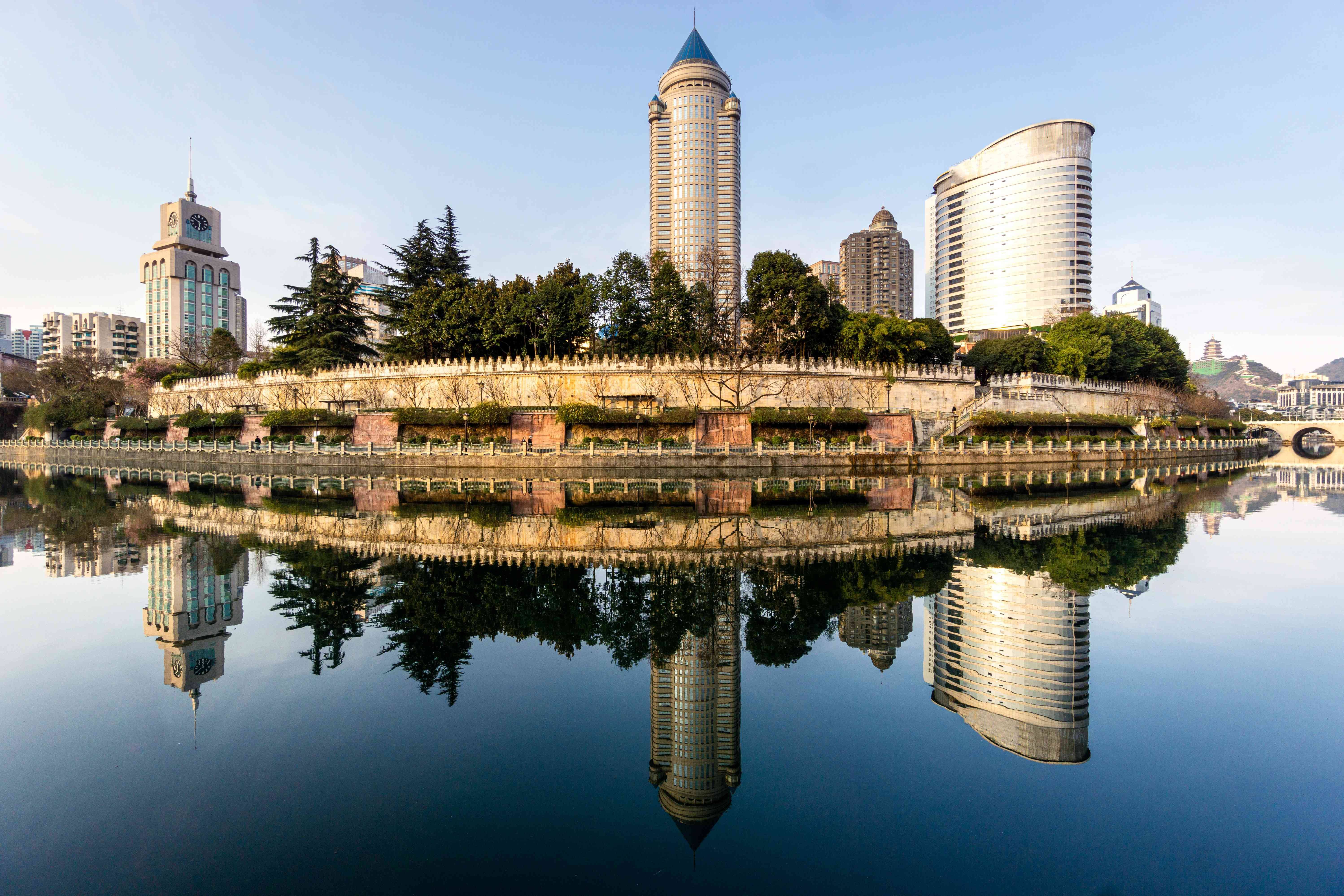 The mirrored reflection of the business district in Guiyang