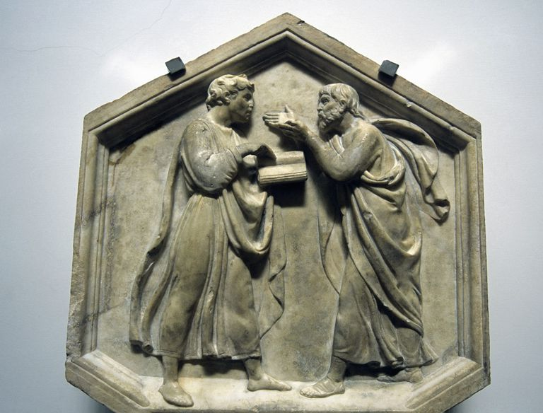 Plato and Aristotle, Relief, Sculpted by Luca della Robbia, 15th century, Renaissance