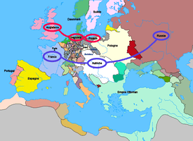 Map of Europe with nations' alliances identified
