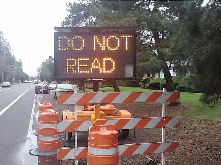 18 Very Funny Hacked Traffic Construction Signs