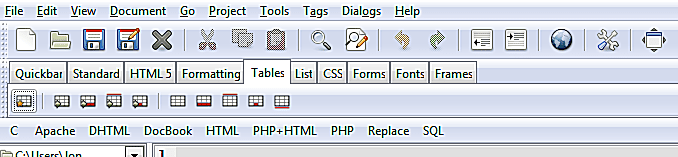 Using The HTML Toolbar in Bluefish