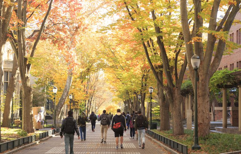 Locust Walk with students in fall, University of Pennsylvania